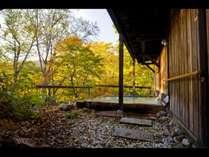 紅葉の中の庭園露天風呂