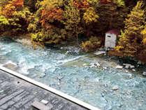 【西館和室】お部屋から紅葉と渓流の景色がお楽しみいただけます。
