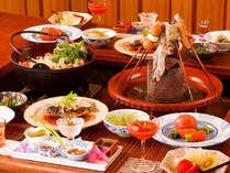 大鍋料理と「囲炉裏風会席」通常ぷらん <お料理一例>