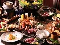 【夕食】伊勢エビとタラバ蟹を炭火焼で豪快に/一例