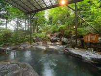 【露天風呂】庭園風の緑たちとの岩風呂で