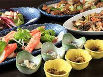 【夕食】彩り豊かな前菜やおばんざい