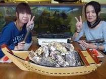 日生産の焼き牡蠣舟盛り90分食べ放題!