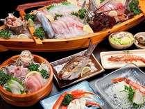 ALL和食膳のプランの例。新鮮な魚介類がたくさん♪