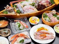 【 夕食 】 朝獲れ海の幸&和牛ローストビーフに、舟盛りを追加したスペシャルコース!
