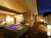 【露天風呂付客室rocca】12年7月オープン 箱根で数少ない自家源泉掛け流し露天風呂を持つスイートルーム