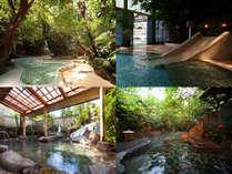 【個性的な風呂】(宿名物「ジャングル風呂」や貸切露天風呂「滝見の湯」など)
