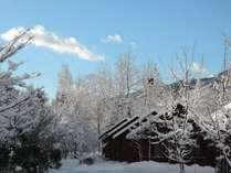 雪景色のログコテージ