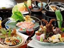 伊勢海老・アワビ・金目鯛をヘルシーに調理! 当館オリジナル量控えめ【創健美膳】。