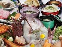 料理写真伊勢海老お造りステーキ鯛のお造り