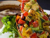 季節の料理一例~『伊勢海老と彩野菜』~