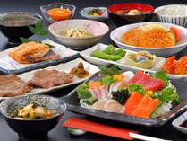 厚切りの牛タン&三陸産刺身盛 夕食