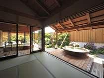 露天風呂棟「湯喜望殿」 解放感あふれ、波の音を聞きながら、そして庭園を眺めて。