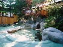 初夏の光あふれる露天風呂。周りの木々の葉も湯船へお邪魔致します。