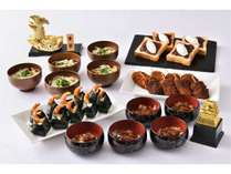 朝食ブッフェの名古屋めし。ひつまぶし・天むす(日替わり)、味噌カツ、きしめん、小倉トースト。