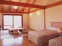 白木の無垢材を贅沢に使ったオーシャンビューの和洋室(一例)