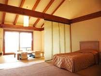 畳とベッドコーナーの分かれた寛ぎの和洋室(一例