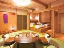 【露天風呂付き客室】『紅の部屋』『紅のお部屋』寝室部分はベッド仕様