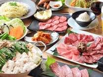 <蓼科牛・焼き肉特別コース>を、湖畔の『Ittou(いっとう)』で