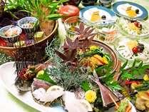 仙崎アジ、タイ、イカのお造り 茄子の田楽焼