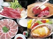 米沢牛のすき焼き、陶板、志波姫豚の豆乳しゃぶ、アワビの踊り焼きからお好みをチョイス!