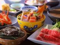 ★幹事様にオススメ!蟹も鮑も♪和牛すき鍋、新鮮お造りなど、彩り鮮やかな会席一例