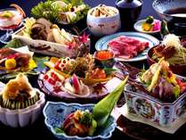 9月限定「松茸と鱧」の特別会席。松茸ご飯、松茸すき焼、3種類の鱧料理などイメージ