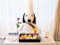 料理長スヌーピーと一緒に朝食を!