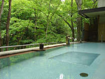 夏混浴野天風呂渓谷の緑に包まれます。