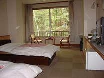 渓谷景色、車椅子対応トイレ付洋室。簡易ベッドを入れて3名様迄ご利用できます。
