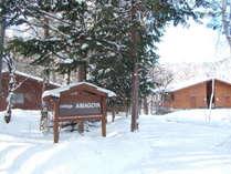 開田高原特有のサラサラパウダースノーに囲まれた冬の全体の外観です。