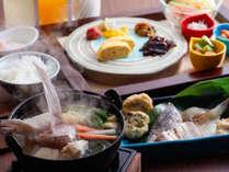 目覚めて最初のお愉しみ♪旨味たっぷりの漁師汁や日替わりの干物・練り物など湊町の和朝食≪料理イメージ≫