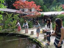 釣竿を借り、宿の主人に教えてもらいながら、庭の池でニジマス、イワナ釣り。
