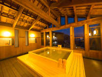 【展望風呂(夜)】世界遺産『厳島神社大鳥居』を一望できる展望風呂♪