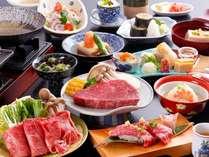 【飛騨牛づくし会席】特選ステーキ・しゃぶ・にぎり(一例)