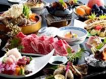 秋の大漁会席のお料理例(選べるお鍋はすき焼きの例)