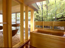 美肌の温泉をお部屋でも楽しむ【源泉檜露天風呂付客室の一例】
