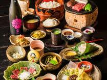 ★夕食一例 豊後牛の溶岩焼や、馬刺し、地元の食材をふんだんに使用したお食事