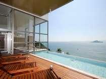 spaVIEW露天風呂から神島を望む