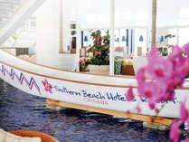 ロビーに飾られたのハーレー舟は『糸満ハーレー』時(毎年旧暦5月4日)に実際に使用