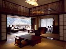 【Aタイプ】和洋室露天風呂+テラス。風通しがよく、快適にお過ごしいただけます。