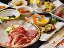 ■【お食事】ローズポークを陶板焼きでお楽しみください♪