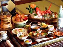 *殿様御膳に伊勢海老と鮑が追加された【デラックス夕食】一例