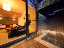湯上がりはマッサージチュアでまったりと…全室温泉露天風呂、内風呂完備。