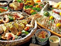 舟盛りと宝楽焼きの極みコース一例 ※画像は5~6人前です。