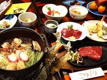 グレードアップコースの料理イメージです。お鍋に川魚の塩焼きに馬刺し、信州牛ステーキをご堪能下さい。