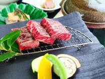 【夕食】穂高城「春の宴」。長野県が定めた厳しい基準をクリアした信州プレミアム牛。
