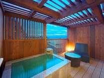 露天風呂付き客室でゆっくりした時間を!お風呂の大きさ長さ1.7M×深さ0.53M×横1.1M