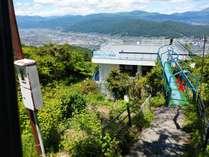 展望台越しに諏訪市街を望みます。