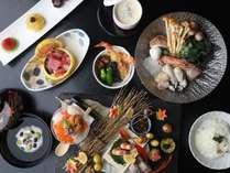 *【魚介と茸のスパークリング鍋会席】前菜や鍋など、随所に秋の食材が散りばめられています。<10~12月>